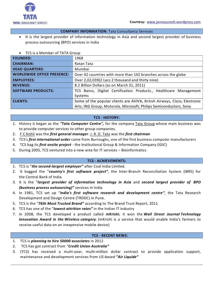 Courtesy: www.jonnasuresh.wordpress.com                              COMPANY INFORMATION: Tata Consultancy Services      ...