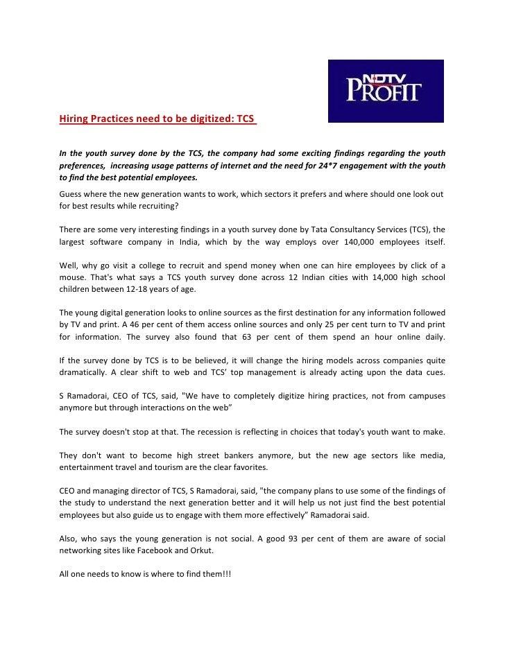 TCS  Digitization Of The Hiring Process