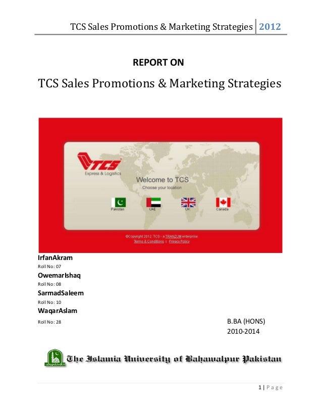 TCS Sales Promotions & Marketing Strategies 2012                            REPORT ONTCS Sales Promotions & Marketing Stra...