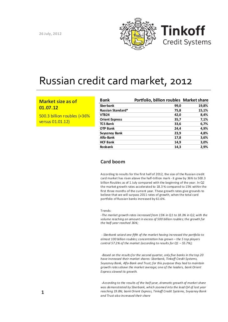 26 July, 2012 Russian credit card market, 2012 Market size as of              Bank                ...