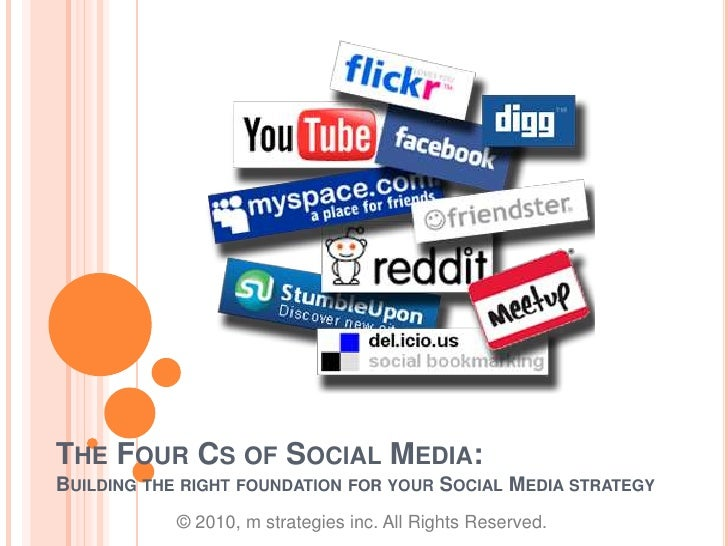 The Four Cs of Social Media:Building the right foundation for your Social Media strategy<br />© 2010, m strategies inc. Al...