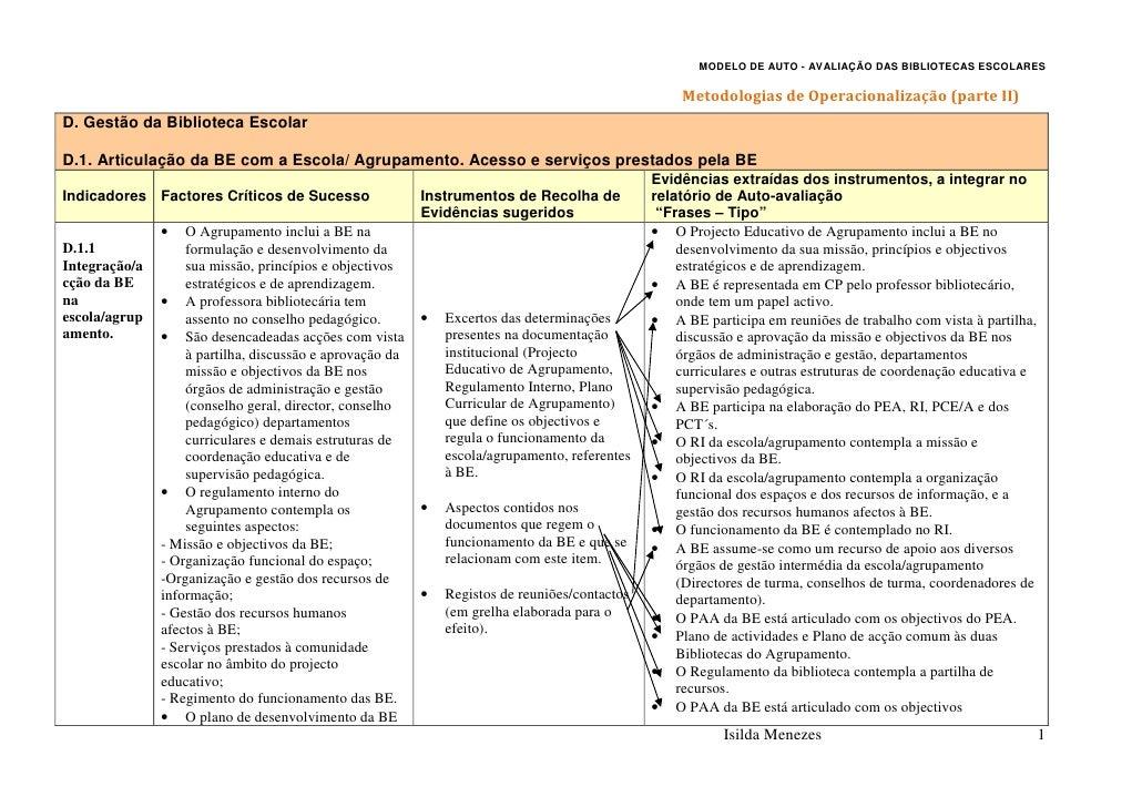 MODELO DE AUTO - AVALIAÇÃO DAS BIBLIOTECAS ESCOLARES                                                                      ...
