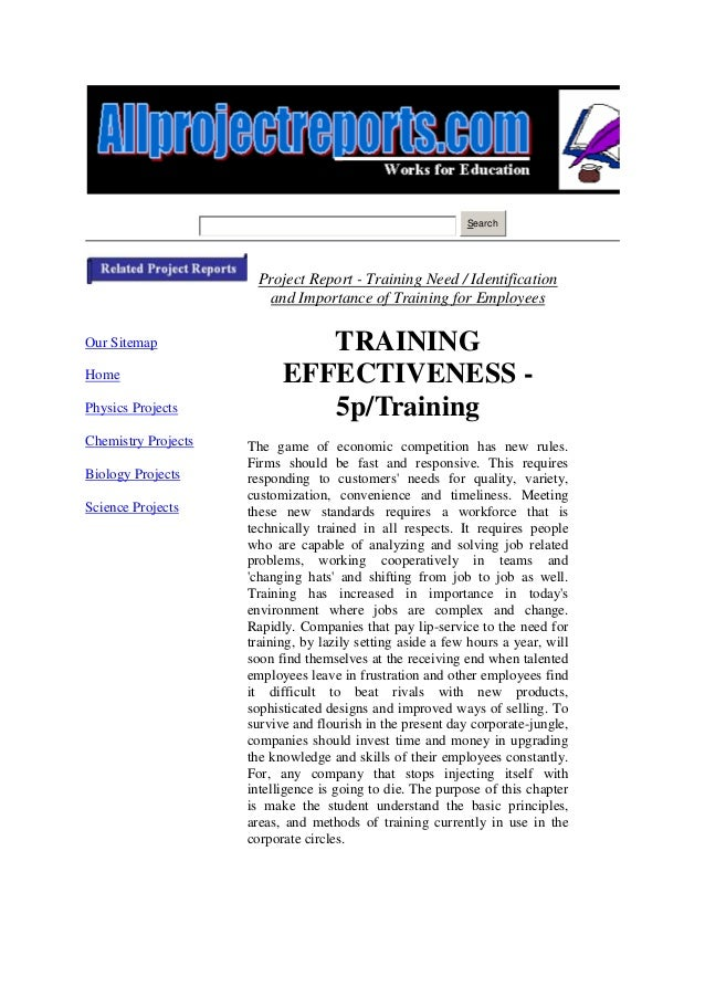 Search                      Project Report - Training Need / Identification                       and Importance of Traini...