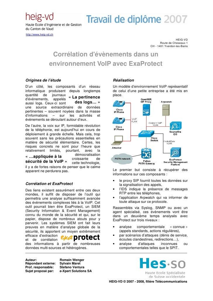 Corrélation d'évènements dans un environnement VoIP avec ExaProtect
