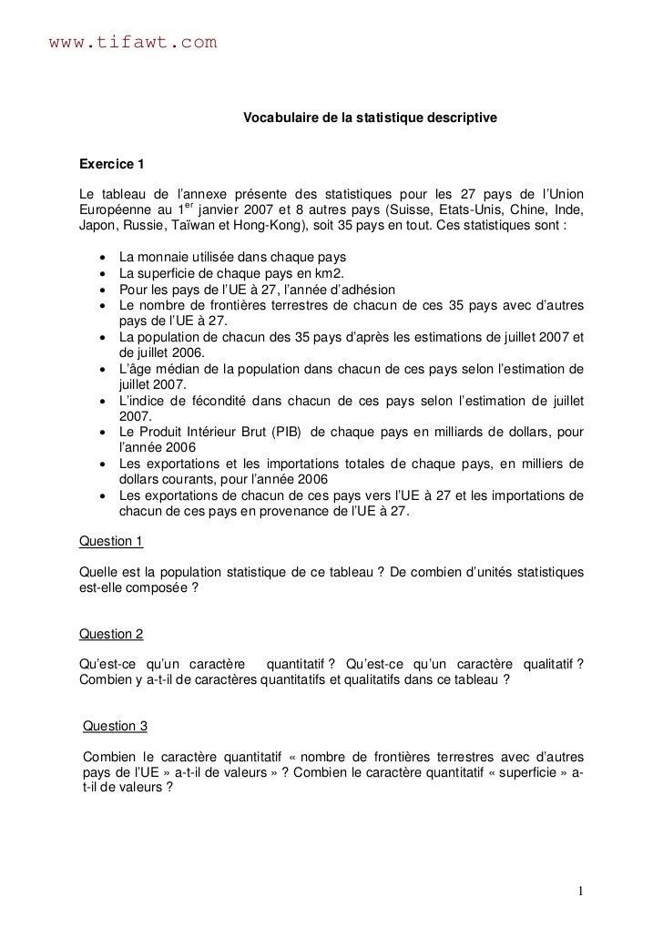 www.tifawt.com                             Vocabulaire de la statistique descriptive  Exercice 1  Le tableau de l'annexe p...