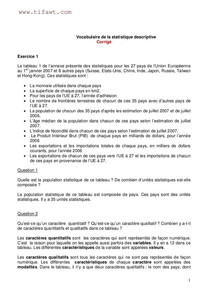 www.tifawt.com                                Vocabulaire de la statistique descriptive                                   ...