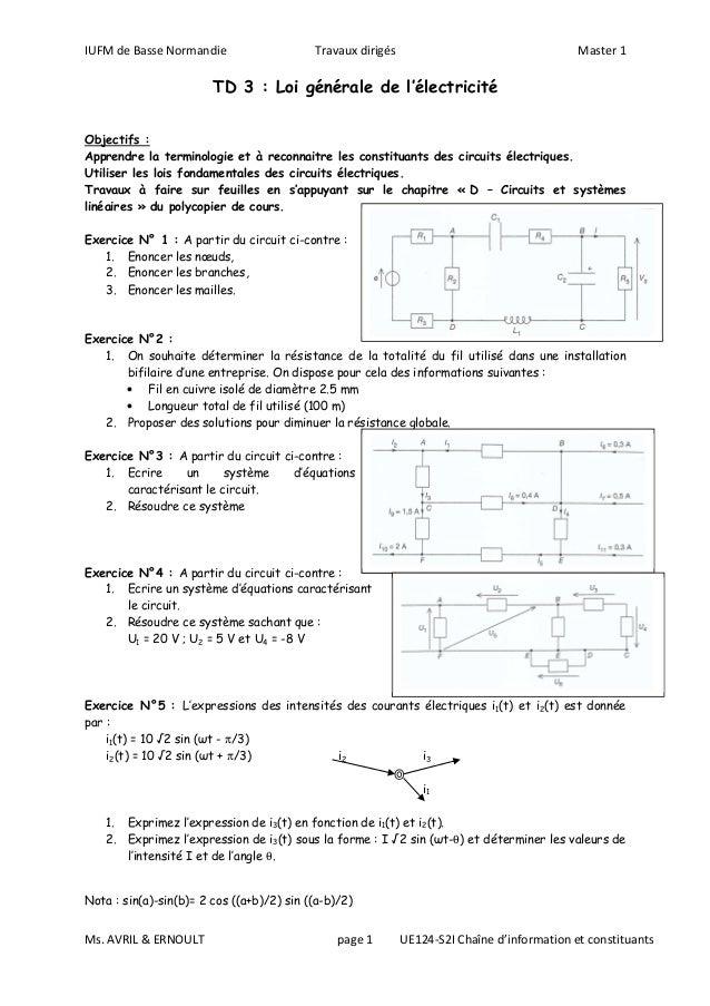 IUFM de Basse Normandie Travaux dirigés Master 1TD 3 : Loi générale de l'électricitéMs. AVRIL & ERNOULT page 1 UE124-S2I C...