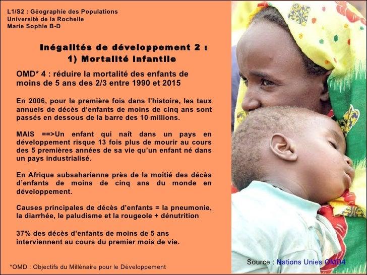 L1/S2 : Géographie des Populations Université de la Rochelle Marie Sophie B-D Inégalités de développement 2 : 1) Mortalité...
