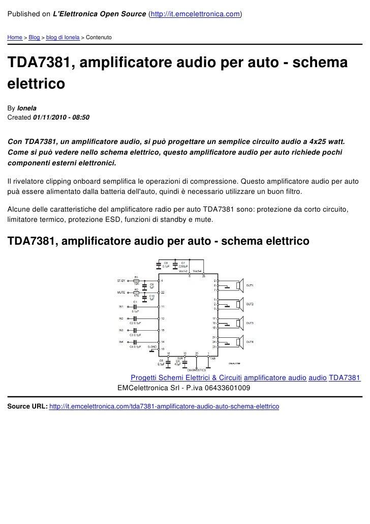Schema Elettrico Amplificatore Per Basso : Tda amplificatore audio per auto schema elettrico