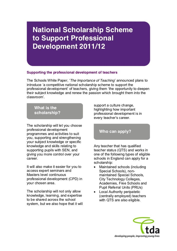 National Scholarship Scheme   to Support Professional   Development 2011/12Supporting the professional development of teac...