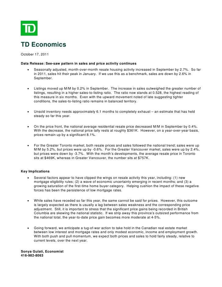 Td Economics Resale Housing Report October 2011