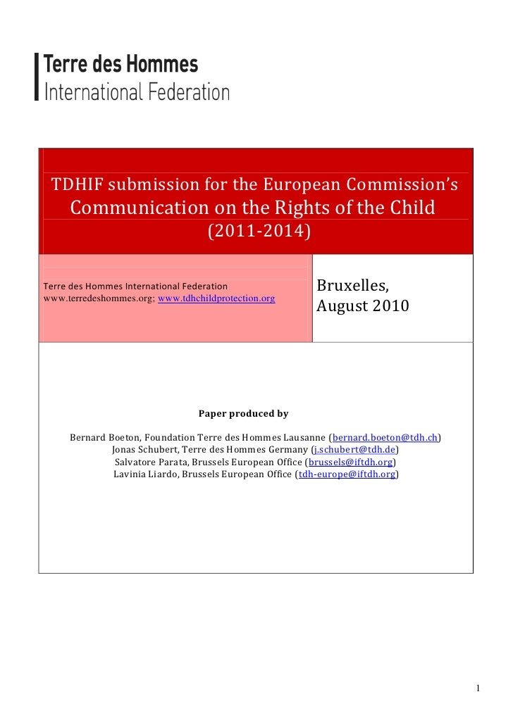 TDHIF submission for the European Commission's      Communication on the Rights of the Child                              ...
