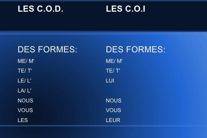 LES C.O.D.    LES C.O.IDES FORMES:   DES FORMES:ME/ M        ME/ MTE/ T        TE/ TLE/ L        LUILA/ LNOUS          NOU...