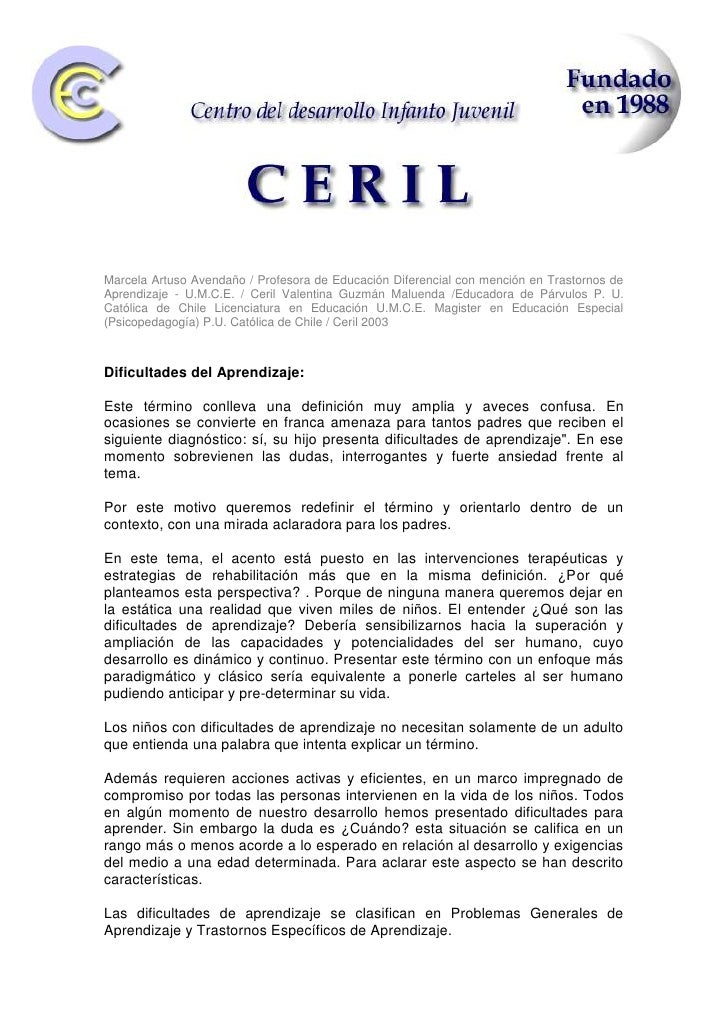 Marcela Artuso Avendaño / Profesora de Educación Diferencial con mención en Trastornos de Aprendizaje - U.M.C.E. / Ceril V...