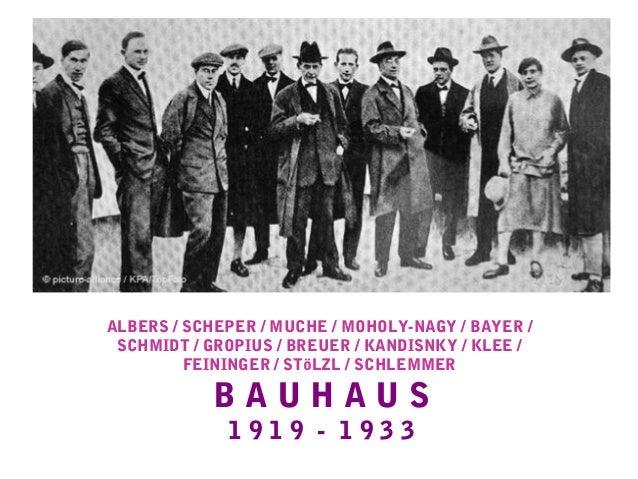 ALBERS / SCHEPER / MUCHE / MOHOLY-NAGY / BAYER / SCHMIDT / GROPIUS / BREUER / KANDISNKY / KLEE / FEININGER / STöLZL / SCHL...