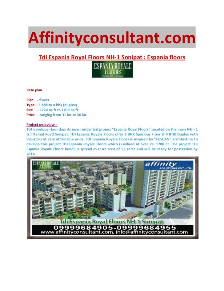 Affinityconsultant.com         Tdi Espania Royal Floors NH-1 Sonipat : Espania floorsRate planPlan     - floorsType    - 3...