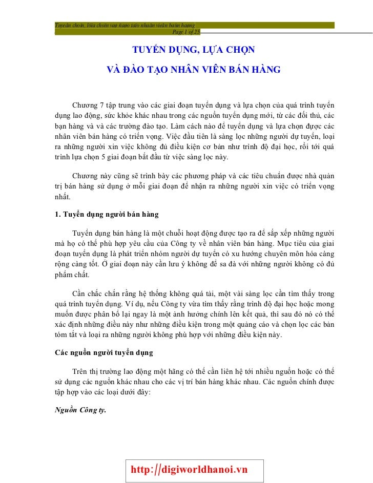 Tuyeån choïn, löïa choïn vaø ñaøo taïo nhaân vieân baùn haøng                                                     Page 1 o...