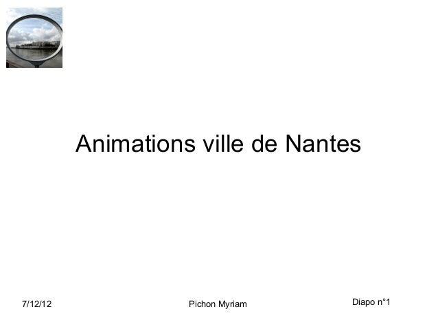 Animations ville de Nantes7/12/12             Pichon Myriam   Diapo n°1