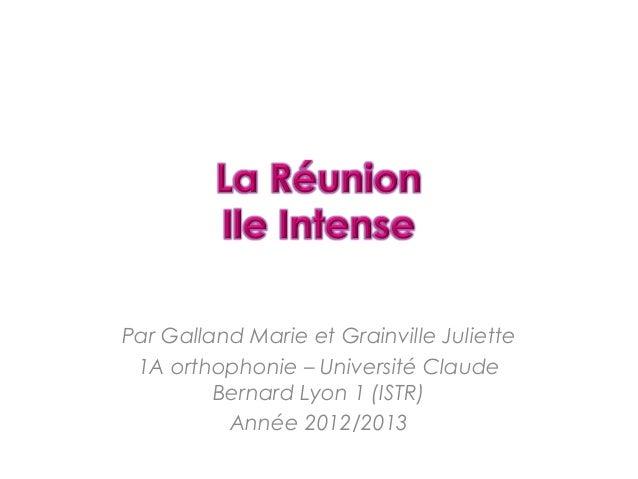 Par Galland Marie et Grainville Juliette1A orthophonie – Université ClaudeBernard Lyon 1 (ISTR)Année 2012/2013