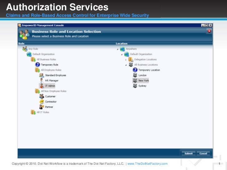 Authorization ServicesClaims and Role-Based Access Control for Enterprise Wide Security<br />Copyright © 2010. Dot Net Wor...