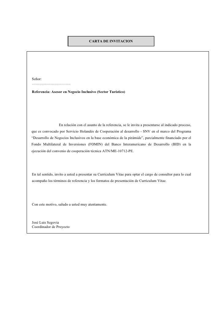 CARTA DE INVITACION     Señor: ………………………….  Referencia: Asesor en Negocio Inclusivo (Sector Turístico)                    ...