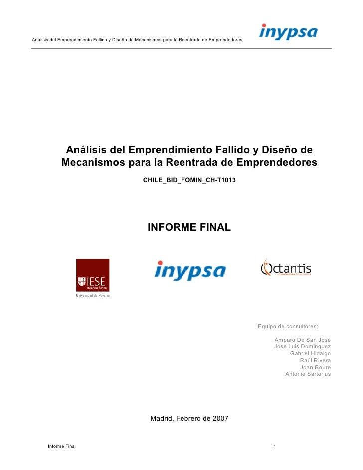 Análisis del Emprendimiento Fallido y Diseño de Mecanismos para la Reentrada de Emprendedores                   Análisis d...