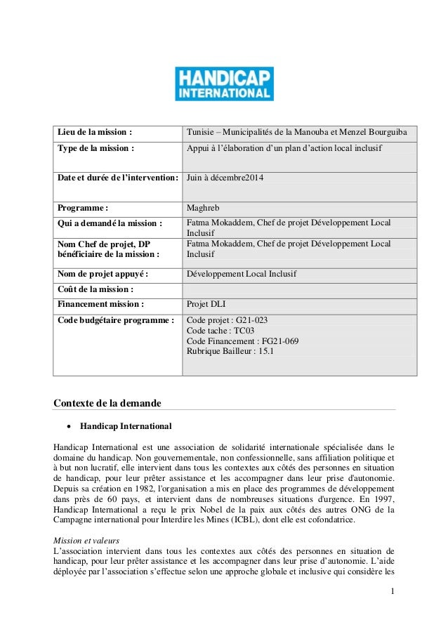 1 Lieu de la mission : Tunisie – Municipalités de la Manouba et Menzel Bourguiba Type de la mission : Appui à l'élaboratio...