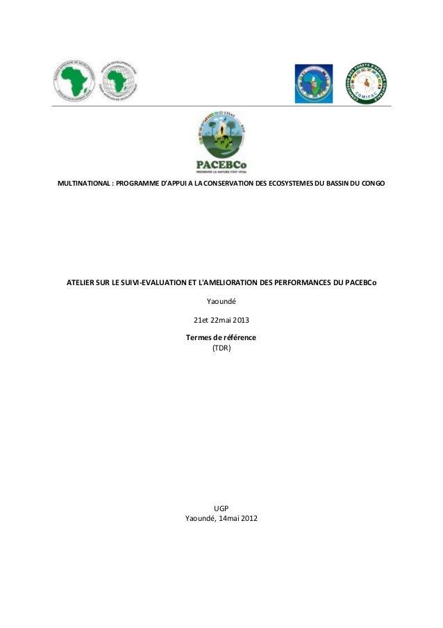 MULTINATIONAL : PROGRAMME D'APPUI A LA CONSERVATION DES ECOSYSTEMES DU BASSIN DU CONGOATELIER SUR LE SUIVI-EVALUATION ET L...