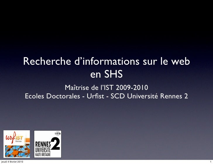 Recherche d'informations sur le web                                  en SHS                                    Maîtrise de...