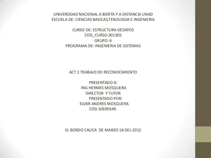 UNIVERSIDAD NACIONAL A BIERTA Y A DISTANCIA UNADESCUELA DE: CIENCIAS BASICAS,TENOLOGIA E INGENIERIA         CURSO DE: ESTR...