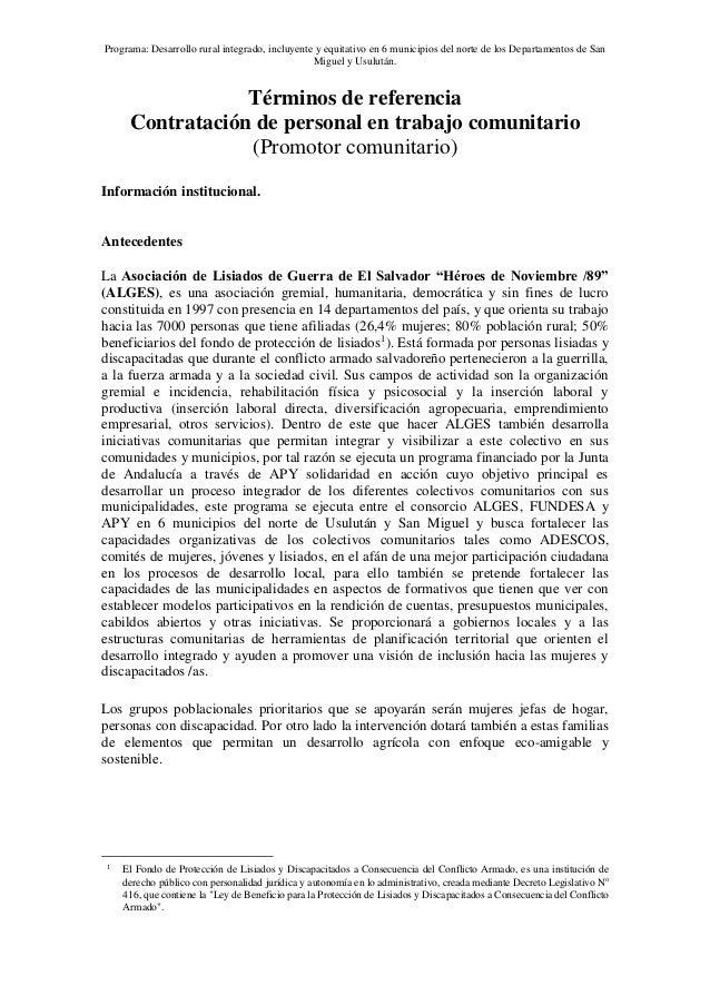 Programa: Desarrollo rural integrado, incluyente y equitativo en 6 municipios del norte de los Departamentos de San Miguel...