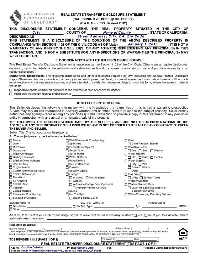 Tds Real Estate Transfer Disclosure Statement 1112