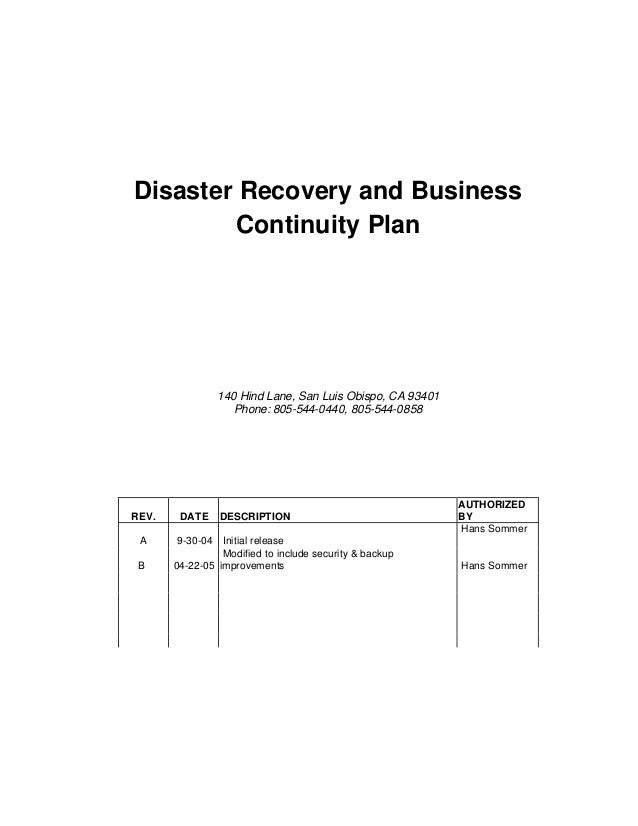 Disaster Recovery and Business         Continuity Plan                140 Hind Lane, San Luis Obispo, CA 93401            ...