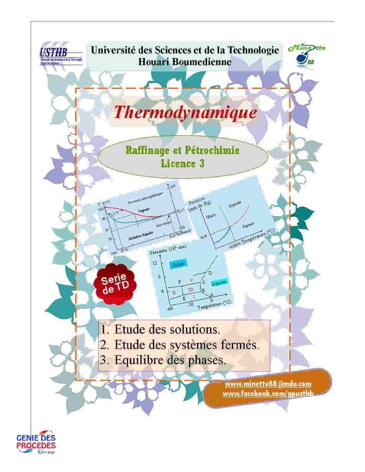 Td tharmodynamique