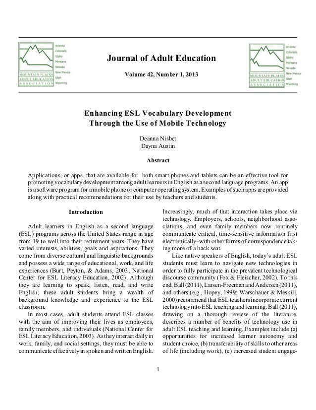 Journal of Adult Education Volume 42, Number 1, 2013  Enhancing ESL Vocabulary Development Through the Use of Mobile Techn...