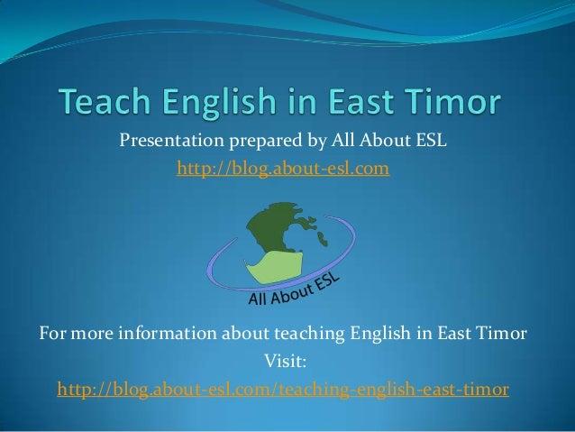Teach English in East Timor