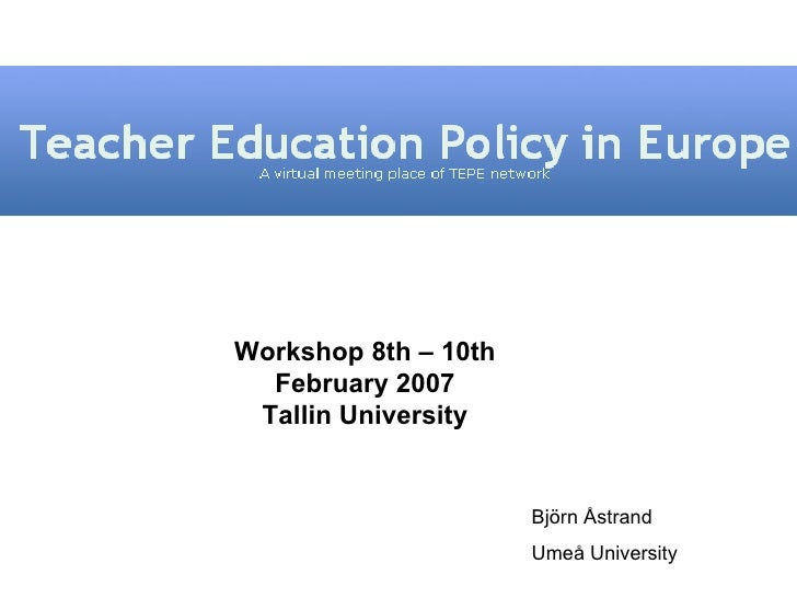 Teacher Education Policy in Europe