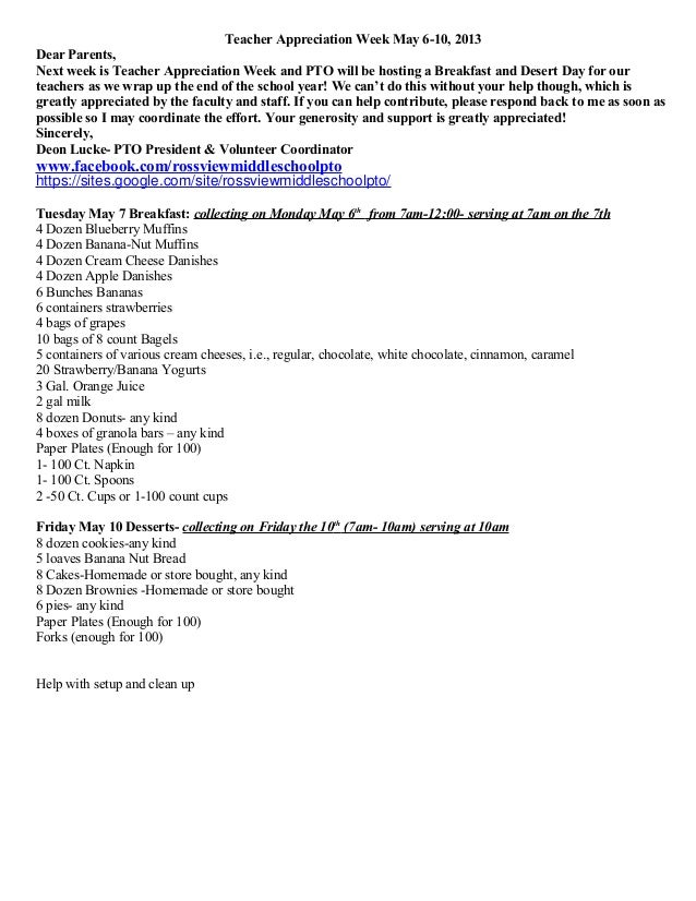 Teacher Appreciation Week May 6-10, 2013Dear Parents,Next week is Teacher Appreciation Week and PTO will be hosting a Brea...