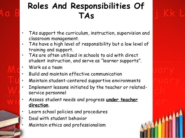 roles and responsibilities of a teachers All teachers are leaders what distinguishes one teacher leader from another is the reach of his or her leadership consider these seven responsibilities that teacher leaders with the broadest impact take on.