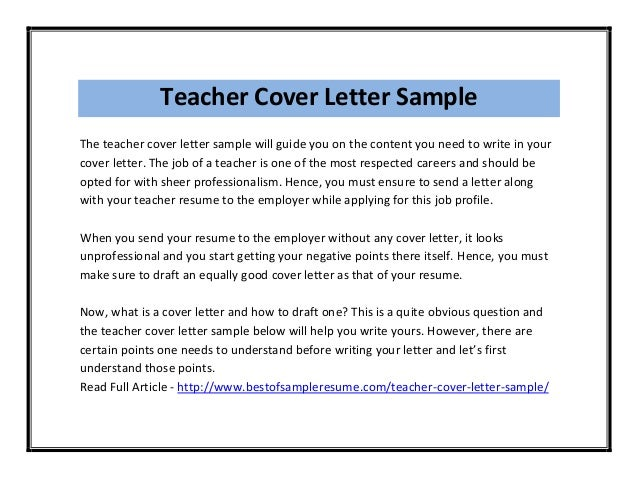 Cover Letter For Teaching Post  BesikEightyCo