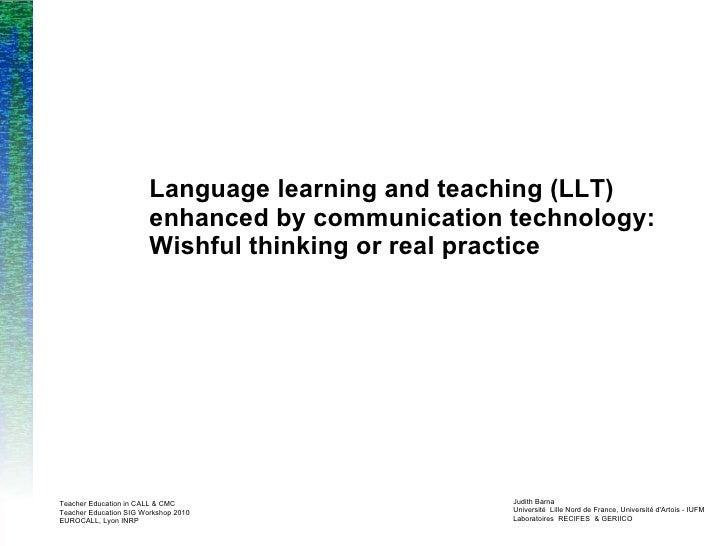 EUROCALL Teacher Education SIG Workshop 2010 Presentation Judith Barna