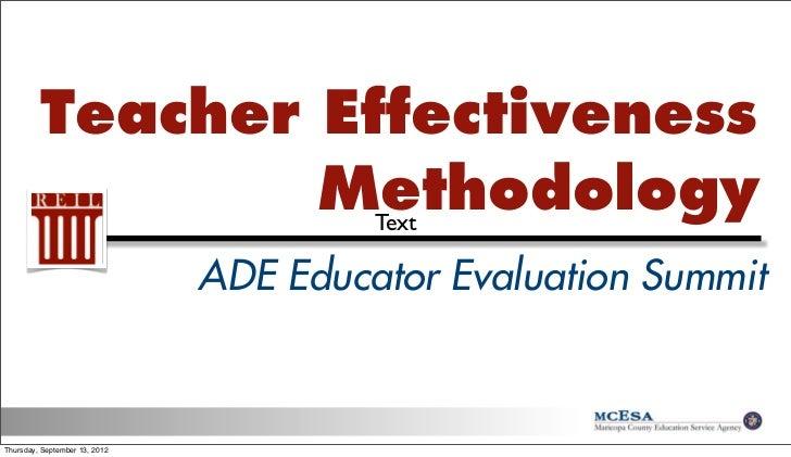 Teacher Effectiveness Methodology