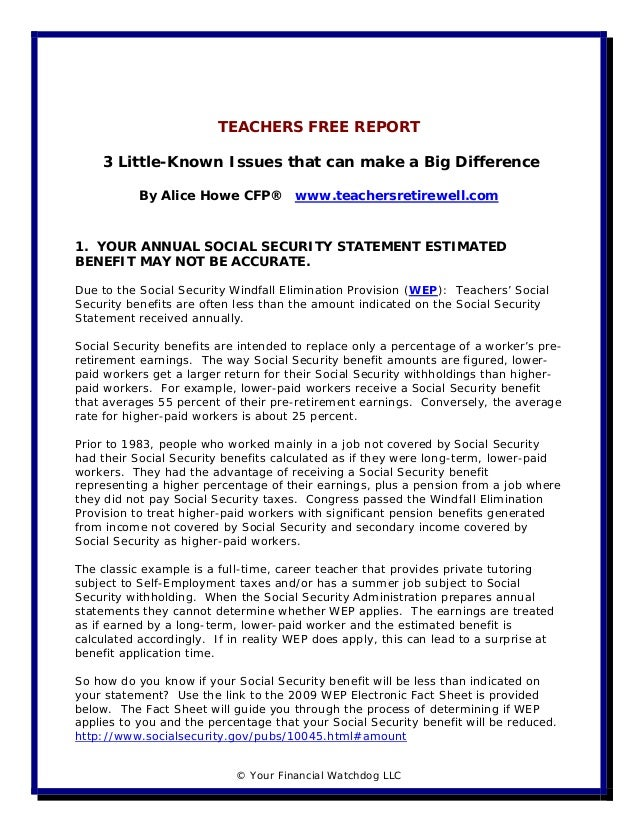 TEACHERS FREE REPORT    3 Little-Known Issues that can make a Big Difference           By Alice Howe CFP®         www.teac...