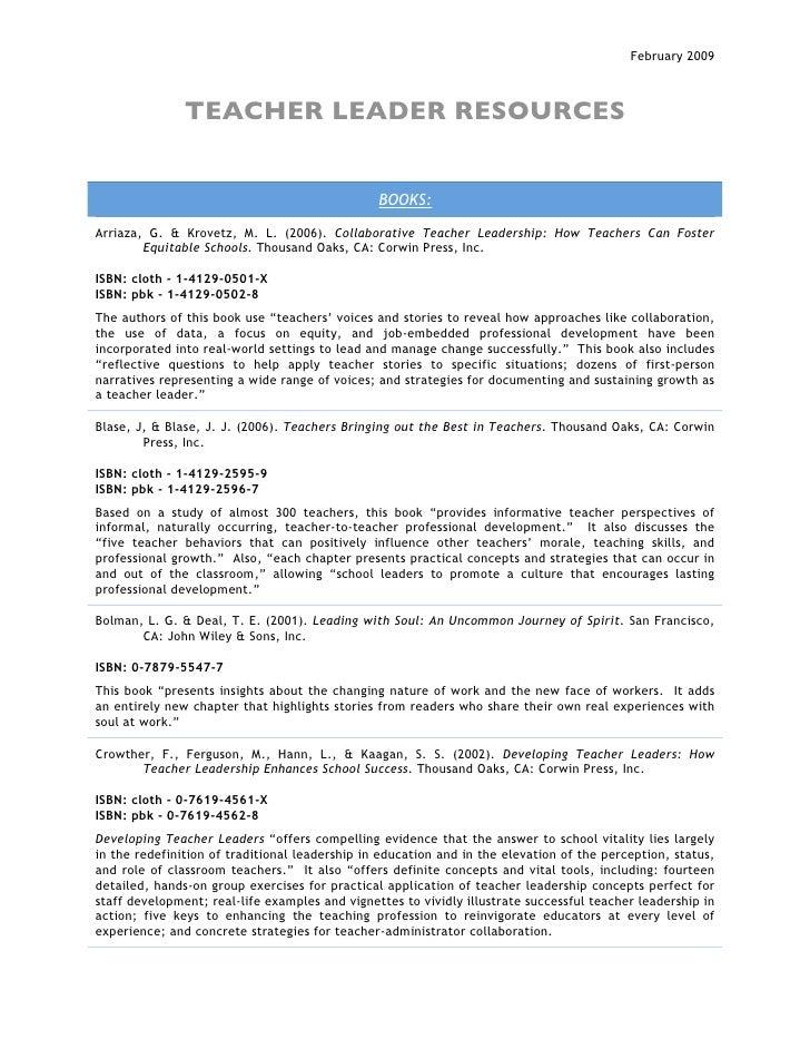 Teacher  Leader  Resources 2 09 Complete