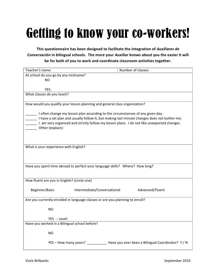 Getting to know your co-workers!      This questionnaire has been designed to facilitate the integration of Auxiliares de ...