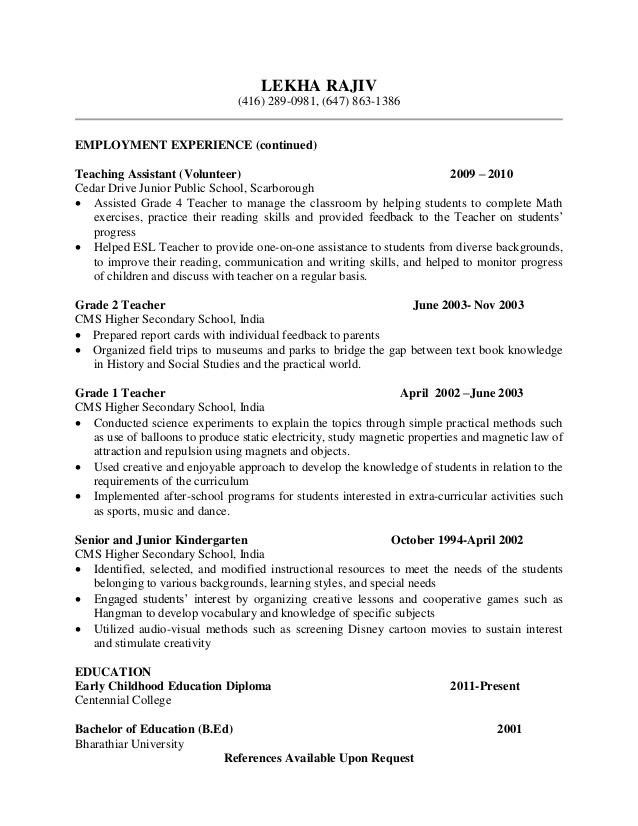 Volunteer Teacher Resume Samples Jobhero Mandegar Info