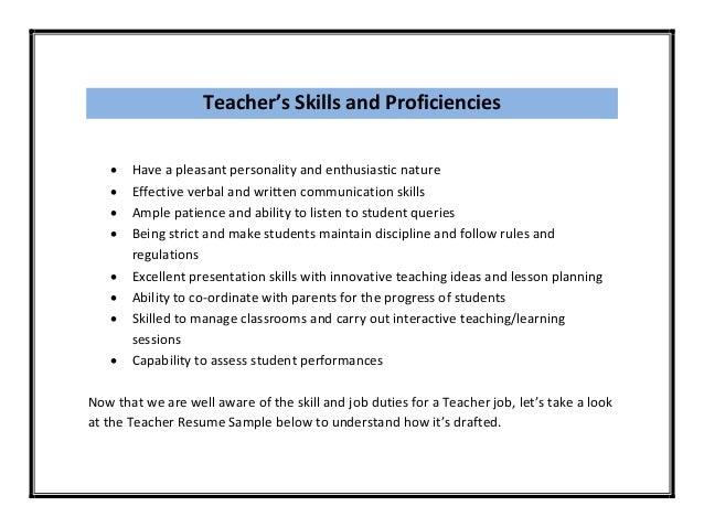 Teacher Skills For Resume - Perfect Resume 2017