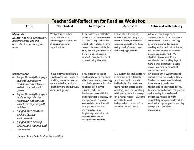 Teacher self reflection for reading workshop