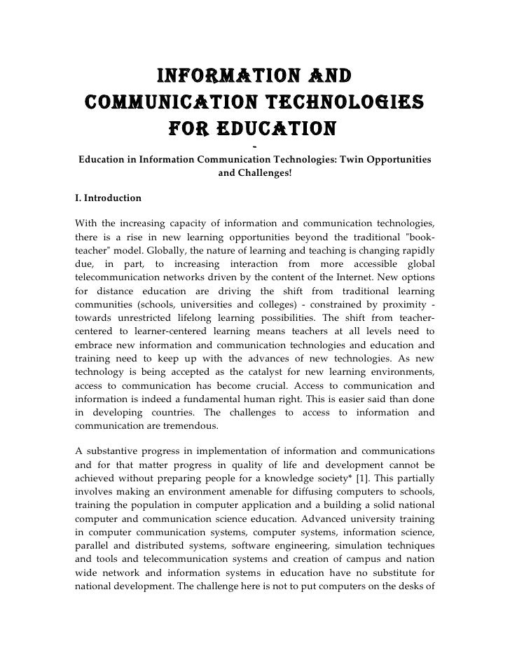 InformatIon and   CommunICatIon teChnologIes         for eduCatIon                                   - Education in Inform...