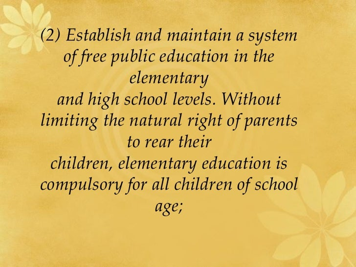 1987 constitution of the philippines: the right to quality education essay We follow this with a brief history of how equality of educational opportunity has   12 the scarcity of high-quality educational opportunity  or according to a  sufficiency threshold (adequacy model) state constitutions differ as to  should  the state seek to correct for the disadvantages of those children.